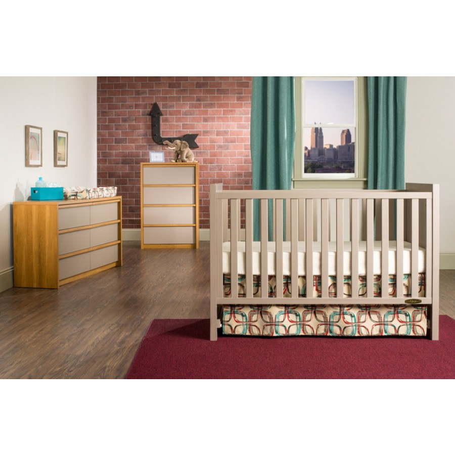 loft 3in1 convertible crib in potters clay finish crib