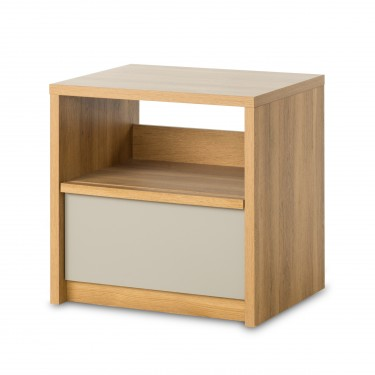 Loft Night Stand in Oiled Oak/Potters Clay Two-Toned Finish Side View