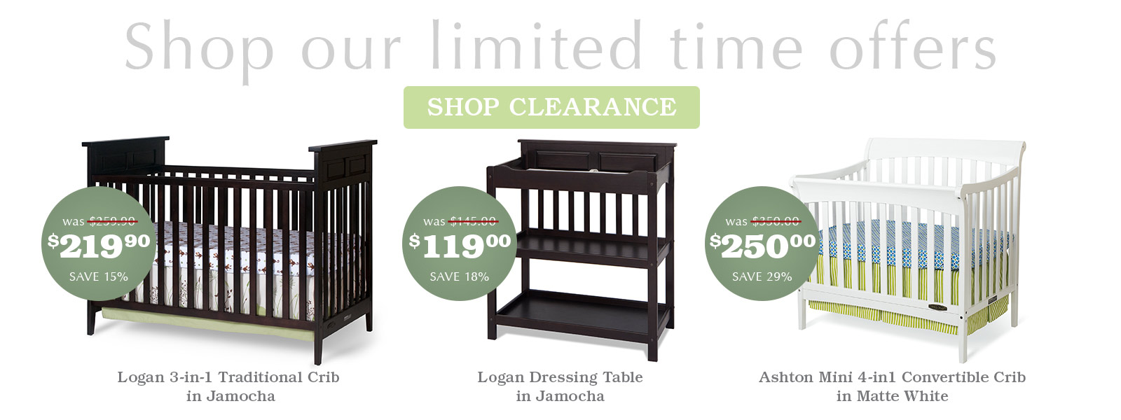 Shop our limited time clearance offers